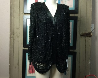 1980s sequin blouse 80s beaded jacket size medium Vintage evening jacket Nordstrom deadstock