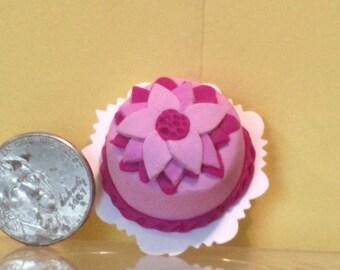 Purple flower cake dollhouse miniature food