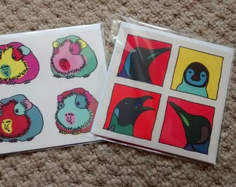 Guinea Pig greeting card and Penguin greeting card - 2 pop art animal cards