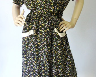 Lovely Lass - Vintage 1940s 50s Fruit of the Loom Cotton Day Dress XXL XL