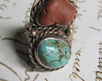 Vintage   Large Signed Vintage Sterling Silver & Turquoise Coral Navajo pawn Ring 6 Babcock