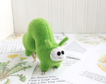 Handmade Plush Inchworm Stuffed Animal in Grass Green Kawaii Fleece Bug Stuffed Caterpillar