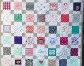 "Reserved for Keryn BABY CLOTHES Quilt Heirloom Memory Quilt Custom Order 58"" x 66"" - Using Your Baby Clothes"