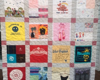 T Shirt Quilt Memory Quilt Custom Order Quilt Queen Size - Using Your 36 Shirts