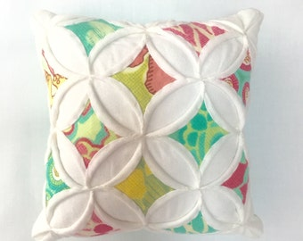 Pincushion Miniature Pillow Cathedral Window Spring House - 5 Inches Square