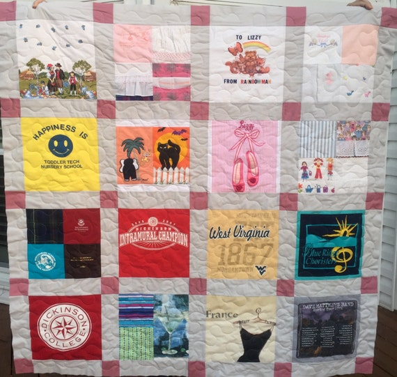 T Shirt Quilt Pattern Queen : Items similar to T Shirt Quilt Memory Quilt Custom Order Quilt Queen Size - Using Your 36 Shirts ...