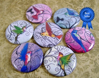 Filigree Hummingbird Pins/Hummingbird Magnets/Hummingbird Flatbacks/Hummingbird Party Favors/Hummingbird Wedding Favors/12 Ct.