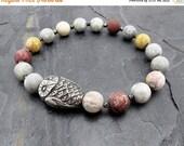 owl bracelet, jasper bracelet, gemstone bracelet, owl jewelry, bird jewelry, stretch bracelet, stacking bracelet, aviary gift, gift for her