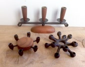 "Danish Modern Candle Holders. 1/4"" Taper. Dansk Designs IHQ Cast Iron Spider, Digsmed Denmark Teak Wood & Metal, Luthje Mid Century."