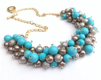 Turquoise and Taupe Pearl Necklace, Beaded Bridesmaid Jewelry, Cluster Necklace, Chunky Necklace, Bridesmaid Gift, Pearl Wedding Jewelry