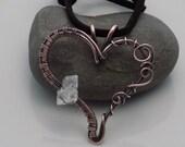 Copper Heart Pendant Diamond Quartz Wire Wrapped Pendant Wire Wrapped Jewelry Handmade in Oxidized Copper Happy Valentines Day