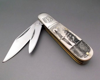 Scrimshaw Knife Pocket Knife 2 blade Folder Nautical  Design Sea Ocean Sailing Ship and Albatross Seagull and Ship Hand Etched Groomsman