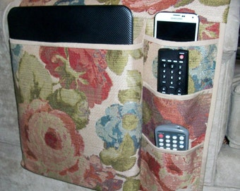 Laptop Caddy - Red/Green/Blue Floral Jacquard