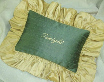 Tonight Pillow - Avocado Silk with Gold Silk Ruffle