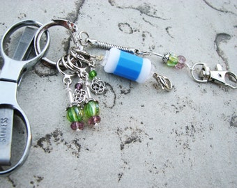 Knitter's Chatelaine: Celtic Thistle- Stitch Markers, Row Counter & Folding Scissors on a Decorative Clasp
