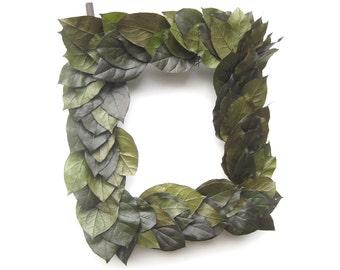Green Lemon Leaf Rectangle Wreath Frame