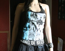 Budweiser Beer tank top halter neck upcycled small