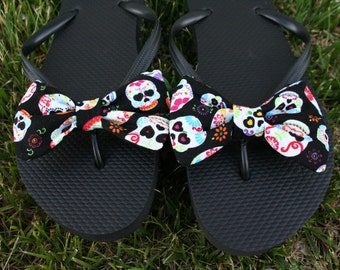 Sugar Skull Flip Flop Sandals Licensed fabric handmade to your shoe size