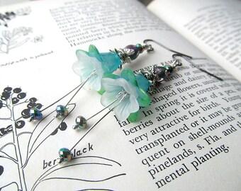 Aqua Earrings, Flower Earrings, Water Lily, Botanical Earrings, Bohemian Jewelry, Dangle Earrings, Beaded Earrings, Nature Inspired, Gift
