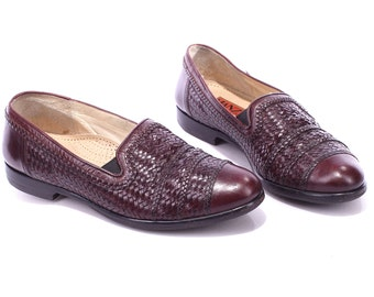 LEATHER LOAFERS Shoes 80s Men Slip On Burgundy Brown Woven Germany Made Moccasins Retro Mens Gift sz Us men 8.5, Eur 42, Uk 8