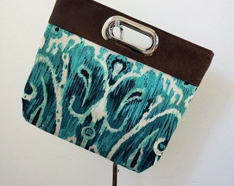 Harley (clutch, linen, turquoise print) ON CLEARANCE SALE at 50% off