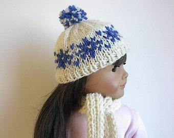 "18 Inch Doll Clothes Knit Hat in White Wool with Royal Blue Fair Isle Snowflakes Handmade to fit the American Girl and Other 18"" Dolls"
