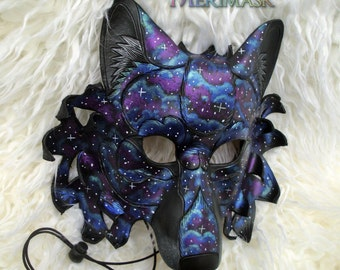 READY TO SHIP Celestial Dire Wolf Leather Mask... costume galaxy stars masquerade burning man mardi gras halloween festival