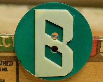 Vintage Celluloid Button Letter B