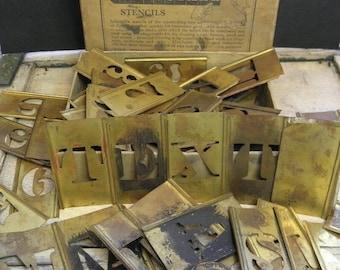 Vintage Set Brass Stencils Industrial Supply Lettering Alphabet