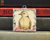 Tasha Tudor Mourning Dove Pendant - Soldered Glass Charm w/ Vintage Tasha Tudor Book Illustration - Roses and Dove Charm - Literary Jewelry