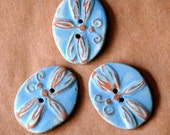 3 Big and Bold Handmade Ceramic Dragonfly Buttons - Rustic Sky Blue Stoneware Dragonflies
