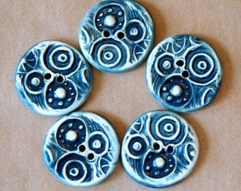 5 Handmade Ceramic Buttons - Circle Steampunk buttons in Denim Blue - Stoneware Buttons