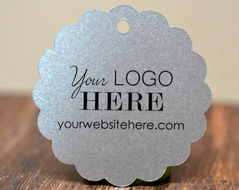 "60 tags - 2"" - Customized Scalloped Circle Hang Tags Price Labels with your Logo"