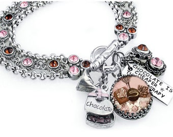 Chocolate Candy - Candy Jewelry - Chocolate Brown Bracelet - Silver Chocolate Bracelet