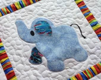 Elephant Treasures handmade baby boy quilt