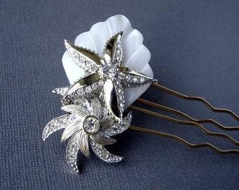 Double Starfish Jeweled Rhinestone Gold Wedding Hair Comb Mother Of Pearl Bridal Hairpiece Boho Chic Beach Bride Bohemian Shell Headpiece