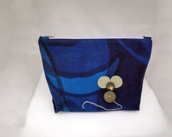 Mouse Zipper Pouch - Mouse Coin Purse - Blue Zippered Pouch - Mouse Purse - Mouse Pouch - Blue Make-up Bag