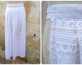 Vintage 1970/70s Tyrol Austria Trachten dirndl white acetate lace apron