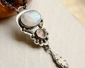 ON HOLD! ------- Vintage Style Rainbow Moonstone and Pink Chalcedony Necklace, Oxidized Silver Necklace, Botanical Metalwork Jewelry