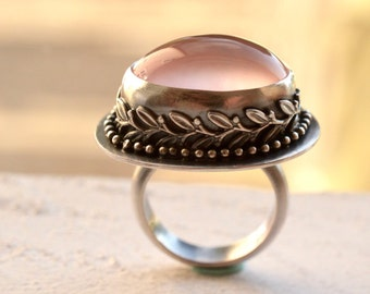 Rose Quartz Ring with Decorative Bezel Work, Stone Ring, Statement Ring, Modern Rustic Ring, Edgy Ring, Detailed Metalwork Ring,