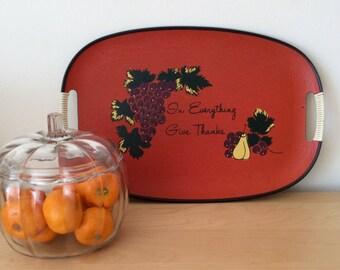 Vintage Thanksgiving Pressboard Fiberboard Serving Tray or Platter