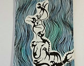 """Original drawing/watercolor ACEO """"Critters on blue 2"""""""
