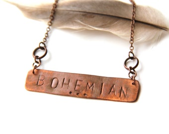 Copper Stamped Bohemian Necklace (P1832)