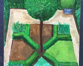 English Garden Original Oil Painting
