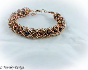 Copper Encased Bead Bracelet