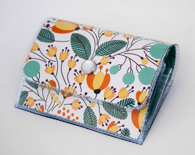 Handmade Vinyl Accordion Wallet - Piano Floral / small wallet, snap, cute, card case, vinyl wallet, women's wallet, floral, teal, flowers