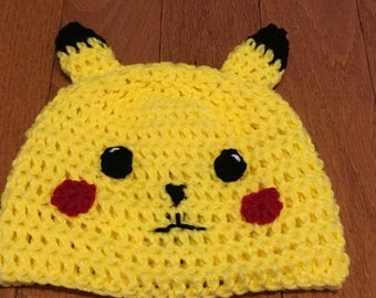 Pokemon Pikachu Beanie Pokemon Beanie all sizes newborn through adult