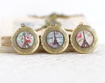 Paris Locket Pendant - Photo Locket - Picture Locket - Eiffel Tower Vintage Locket - Hiding Place - Locket Pendant - Gift For Woman