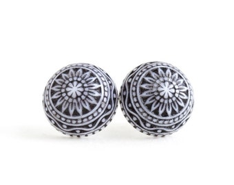 Navy Earrings - Mosaic Earrings in Navy and White - Post Earrings - Scandanavian Design - Vintage Cabochons - Intricate Earrings - Patterned