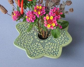 Handmade Ceramic Pottery Lace Doily Vase
